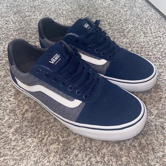 Navy blue and gray vans
